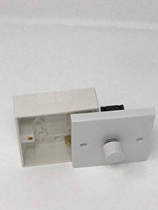 1gang 1Way 400W Standard Variateur d'intensité Blanc classique Plastique Blanc avec bouton et 25mm Dos Box Pattress de la marque LILMACC image 0 produit