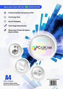 100 Feuilles A4 OHP film transparent supplémentaire 5 feuilles pour projecteur / film OHP papier transparent 21 x 29.7cm compatible impressions laser mono noir & blanc PC-UK.NET de la marque PC-UK.NET image 0 produit