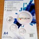 100 Feuilles A4 OHP film transparent supplémentaire 5 feuilles pour projecteur / film OHP papier transparent 21 x 29.7cm compatible impressions laser mono noir & blanc PC-UK.NET de la marque PC-UK.NET image 1 produit