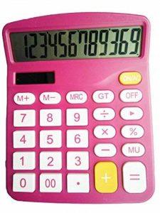 100Packs calculatrice, Hi-Tech calculatrice de bureau électronique avec grand écran LCD écran, Énergie solaire calculatrice de bureau à 12chiffres (Rouge) de la marque MUHWA image 0 produit