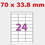 100 Planches de 24 étiquettes 70 x 34 mm = 2400 etiquettes - Blanc Mat - pour imprimantes Laser et Jet d'encre - Feuilles A4 autocollantes référence univers UGE24V03 étiquettes blanches pour imprimante jet d'encre/ laser/copieur 70 X 33.8 de la marque UNI image 1 produit