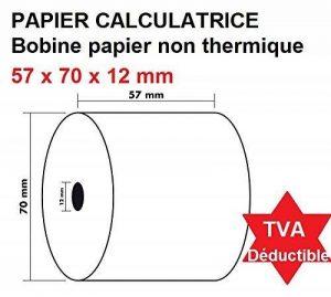 100 Rouleaux de recharge pour calculatrices et caisses enregistreuses à impression NON THERMIQUE papier simple normal 1 feuille électrique bobine Blanc 57 x 70 x 12 mm idéal pour imprimante a ruban et impact Bobine Comptable 57x70 Afn7 60g de la marque UN image 0 produit