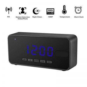 1080P Full HD Espion Caméra Réveil OMOUP Alarm Spy Clock Camera Caméra de Surveillance Vidéo Enregistreur avec Dé tection de Mouvement/Capteur de Corps PIR / Vision Nocturne / Grand Angle / Capteur de Température (16G) de la marque OMOUP image 0 produit