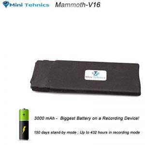 16Go Modulaire Petite Taille Enregistreur Espion | Dispositif d'écoute avec commande vocale | 18 jours Autonomie de Batterie | 16Go/ 288 heures d'enregistrements audio | 192 Kbps CD-Qualité de la marque MiniTehnics image 0 produit