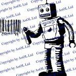 ( 197x200 cm ) Banksy Décalque Mural Vinyle Robot Graffiti / Machine Peinture Code barre / Graffiti De Rue Autocollant / Drôle robot avec canette + Gratuit Cadeau De Décalque de la marque AnOL image 2 produit