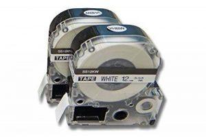 2 Cassettes à Ruban vhbw 12mm pour Epson LabelWorks LW-700, LW-400, LW-500, LW-900P Remplace: LC-4WBN, SS12KW. de la marque vhbw image 0 produit