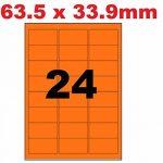 25 Planches de 24 Étiquettes FLUO ORANGE 63.5 X 33.9 mm =600 étiquettes - Blanc Mat - pour imprimantes Laser et Jet d'encre - Feuilles A4 autocollantes référence univers UGFLO241 code logiciel L7159 de la marque UNIVERS GRAPHIQUE image 2 produit