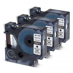 3D145013Police Ruban compatible pour DYMO D112mm x 7m Noir sur Blanc, étiquettes Lable Tape pour DYMO LabelManager 160, 210D, 360d, 450D, 500ts, Labelpoint 250, PC, PC2, PNP, PNP, WiFi, LabelWriter 450Duo, 3m PL100, Rhino de la marque Oozmas image 0 produit
