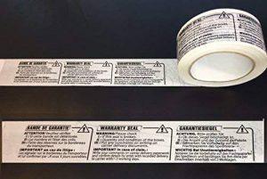 3 Rouleaux adhésif imprimé BANDE DE GARANTIE INTERNATIONAL EN 3 LANGUES: français - anglais warranty seal - allemand garantiesiegel ,pp silencieux long : Rouleau de 50 mm x 100 mètres ref UGRABG3L -3 de la marque UNIVERS GRAPHIQUE image 0 produit