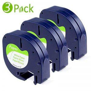 3x Ruban Dymo pour Etiqueteuses LetraTag Papier 12mm x 4m Noir sur Fond Blanc, Compatible pour Dymo LetraTag LT-100H LT-100T Étiqueteuse Portable de la marque Fimax image 0 produit
