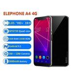 """4G Smartphone Telephone Portable 5.58"""" - Reconnaissance Faciale, Android 8.1, Empreintes Digitales, 3Go Ram 16Go Rom, 5MP+8MP CaméraS, Dual SIM, OTG/GPS/Bluetooth,WiFi - Elephone A4 Noir de la marque elephone image 1 produit"""