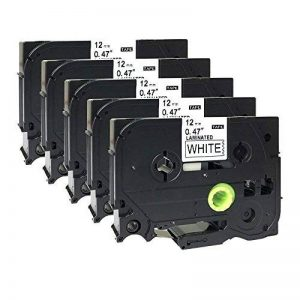 5 x ruban d'étiquettes-Noir sur Blanc Compatible Brother TZ - 231–P-Touch TZe - 231–12 mm x 8 m laminé de la marque Label-Brother image 0 produit