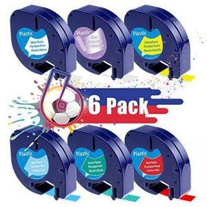 6 Rubans d'étiquette Compatible Dymo Letratag LT-100H LT-100T LT-110T XR, Étiquettes en plastique LetraTag 12267 91201 91202 91203 91204 91205, 12mm x4 m de la marque Oozmas image 0 produit