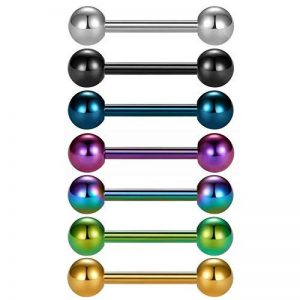 7-9 pièces en titane anodisé chirurgical barres en acier de la langue mamelon anneau piercing - VCMART de la marque Vcmart image 0 produit