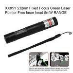 851 532nm Pointeur laser vert à mise au point fixe Tête laser gratuite GAMME 5mW Stylos à pointe haute Lazer avec chapeau étoilé de la marque UniqueHeart image 2 produit
