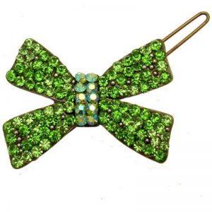 Acosta Accessoires–Vert et cristal AB Petit Noeud cheveux diapositive Clip–Or ancien–Boîte Cadeau de la marque Acosta Jewellery image 0 produit
