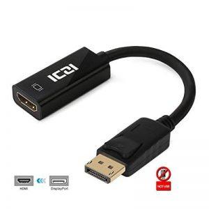 Adaptateur DisplayPort vers HDMI [4K], ICZI DP Câble mâle vers HDMI Femelle, Connecteurs dorés, pour TV 4K, HDTV, Moniteur, Projecteurs, Ordinateurs portables et autres [Noir] (1080P, Noir) de la marque ICZI image 0 produit