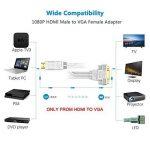 Adaptateur HDMI vers VGA avec audio, Foinnex Active Adaptateur HDMI vers VGA/convertisseur câble avec audio Cord pour connexion PC, ordinateur portable, DVD, Xbox 360One, PS4/PS3, Tv-box vers TV, moniteur, Vidéoprojecteur, mâle vers femelle de la marque image 1 produit