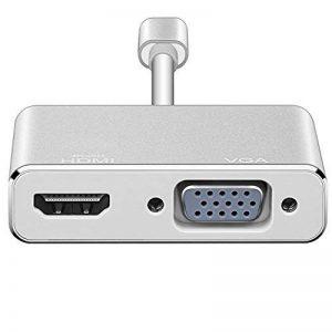 Adaptateur HDMI, VGA 1080p USB-C vers VGA et HDMI 4K, Digitcont USB 3.1type C 2en 1convertisseur vidéo adaptateur pour 2017Nouveau MacBook/Chromebook Pixel/Yoga 900/appareils USB-C vers HDTV/Vidéoprojecteur de la marque DigitCont image 0 produit