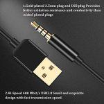 AGPTEK Câble Jack Audio 3,5 mm Mâle vers USB 2.0 Stéréo Auxiliaire 2 en 1 Câble de Transfert et de Charge pour MP4, Dictaphone et autres Appareils Portables, Compatible avec MP3 AGPTEK S12/S33/RP33- Noir de la marque AGPTEK image 2 produit