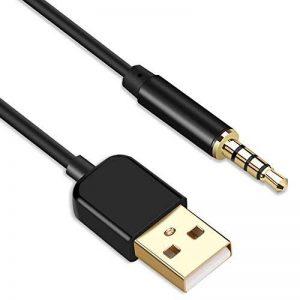 AGPTEK Câble Jack Audio 3,5 mm Mâle vers USB 2.0 Stéréo Auxiliaire 2 en 1 Câble de Transfert et de Charge pour MP4, Dictaphone et autres Appareils Portables, Compatible avec MP3 AGPTEK S12/S33/RP33- Noir de la marque AGPTEK image 0 produit