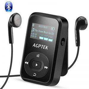AGPTEK MP3 Bluetooth 4.0 avec Clip A26TB Lecteur Sport 8Go Son Lossless Hi-FI, Baladeur avec Podomètre, Enregistreur Vocal etc, Extensible jusqu'à 128Go(Carte Non Incluse)- Noir de la marque AGPTEK image 0 produit