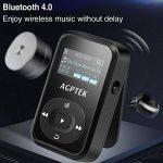 AGPTEK MP3 Bluetooth 4.0 avec Clip A26TB Lecteur Sport 8Go Son Lossless Hi-FI, Baladeur avec Podomètre, Enregistreur Vocal etc, Extensible jusqu'à 128Go(Carte Non Incluse)- Noir de la marque AGPTEK image 1 produit