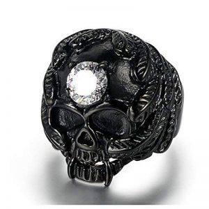 Aienid Bijoux Bague Homme Acier Inoxydable Noir Crâne Bague pour Hommes Cadeau Taille:28Mm Size:59 de la marque Aienid image 0 produit