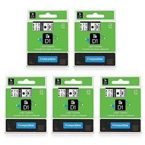 Airmall Lot de 5 Rubans Cassettes Compatible avec Dymo D1 45013 12mm x 7m Noir sur Blanc pour DYMO LM 160 210D 260P 360D 420P 450D 500TS WiFi PnP LW 450 DUO de la marque Airmall image 0 produit