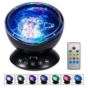 Aonokoy Ocean Wave Vidéoprojecteur lumière télécommande lampe de nuit + lecteur de musique pour enfants adultes Chambre à coucher Salon, réglable à 45° et 7modes d'éclairage coloré de la marque Aonokoy image 0 produit