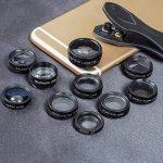 Apexel 10 en 1 Objectif grand angle + Lentille macro + Lentille Fisheye + Téléobjectif + Kaleidoscops 3/6 lentille + CPL / Flow / Star / Radial Filter Clip-on Phone pour iPhone 8 / X 7/7 plus Samsung S8 Smartphones Android de la marque Apexel image 1 produit