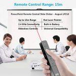 August LP210 - Pointeur Laser Rouge Dispositif Sans Fil Multimédia / Wireless Presenter - Télécommande de Présentation PowerPoint avec Touches Raccourcis - Portée de 15m - Compatible avec Windows 10, 8, 7, vista, xp, Mac, Android - Noir de la marque Augus image 2 produit