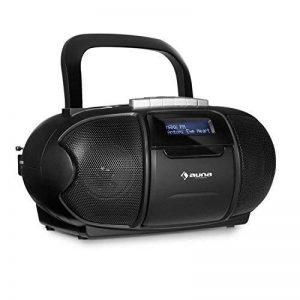 auna BeeBoy DAB Boombox • CD-radio • radiocassette • lecteur de cassette • lecteur CD • magnétophone • pot USB • AUX • LCD • haut-parleurs stéréo • fonctionnement baterie et secteur • poignée • noir de la marque Auna image 0 produit