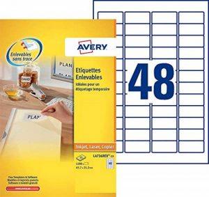 Avery 1200 Etiquettes Autocollantes Amovibles (48 par feuille) - 45,7x21,2mm - Impression Laser, Jet d'Encre - Blanc (L4736REV) de la marque Avery image 0 produit
