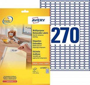 Avery 6750 Etiquettes Autocollantes Amovibles (270 par Feuille) - 17,8x10mm - Impression Laser, Jet d'Encre - Blanc (L4730REV) de la marque Avery image 0 produit