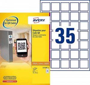 Avery 875 Etiquettes Autocollantes Carrées (35 par Feuille) - 35x35mm - Opaque - Blanc (L7120) de la marque Avery image 0 produit