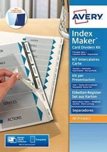 Avery Kit pour Reliures (Intercalaires Non Perforés Imprimables, Spirale et dos Cartonné Inclus) - A4-6 Touches - Blanc (L7455-6) de la marque Avery image 0 produit