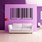 azutura Fabriqué en France Autocollant mural code à barre Sticker Art Décoration de maison disponible en 5 dimensions et 25 couleurs Moyen La glace Bleu de la marque azutura image 1 produit