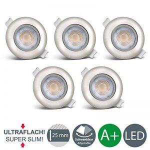 B.K. Licht lot de 5 spots LED encastrables orientables ultra plats, 5x LED 5W, 450lm, 3000K, spots plafond LED, spots encastrables, blanc chaud, profondeur d'encastrement 30mm, IP23 de la marque B.K.Licht image 0 produit