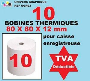 Bobine Thermique - 80x80x12 - Paquet De 10 pour rouleau pour caisse et imprimante thermique de la marque UNIVERS GRAPHIQUE image 0 produit
