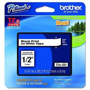 Brother Original TZE231 Noir sur Blanc Ruban Laminé | 12mm de large | 1 rouleau(x) de la marque Brother image 0 produit