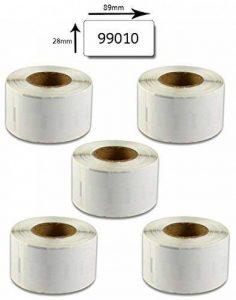 bubprint 5x Rouleau étiquettes compatible avec Dymo 99010 S0722370 89x28mm, Blanc de la marque Bubprint image 0 produit