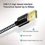Cable USB de 2m/6.6ft, POSUGEAR Nylon tressé USB 3.0 Type A Câble mâle à mâle 5 Gbps Câble de transfert de données pour boîtiers de disque dur, imprimantes, modems, appareils photo et autres périphéri de la marque POSUGEAR image 2 produit