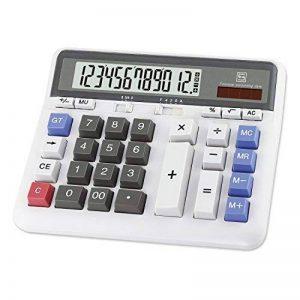 Calculateur électronique de clé d'ordinateur de bureau d'OFFIDIX, calculatrices financières pour la banque d'objets et d'Accouter, modèle de comptabilité financière Style affichage de 12 chiffres avec la batterie et la calculatrice de bureau solaire (blan image 0 produit