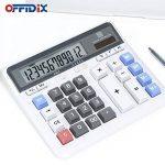 Calculateur électronique de clé d'ordinateur de bureau d'OFFIDIX, calculatrices financières pour la banque d'objets et d'Accouter, modèle de comptabilité financière Style affichage de 12 chiffres avec la batterie et la calculatrice de bureau solaire (blan image 4 produit