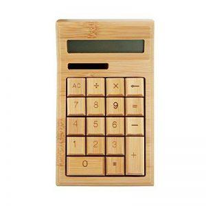 Calculatrice de bureau à énergie solaire en bambou avec chiffon de nettoyage en microfibre de la marque Horsebiz image 0 produit