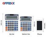 Calculatrice de bureau OFFIDIX Calculatrice de bureau, solaire et batterie Calculatrice électronique à double alimentation Calculatrice portable 12 chiffres à grand écran LCD (taille moyenne) de la marque OFFIDIX image 3 produit