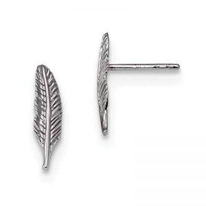 Calculatrice F-715SG intègre Plus mm Argent sterling rhodié poli plumes Post Boucles d'oreilles de la marque JewelryWeb image 0 produit