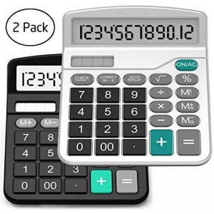 Calculatrice, Splaks 2 Pack Calculatrice de Bureau Fonctionnelle Standard Sola et Calculatrice Électronique avec Grand Affichage à 12 chiffres (1 Noir et 1 Argent) de la marque Splaks image 0 produit