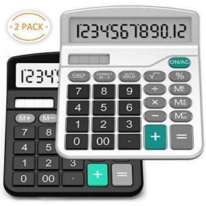 Calculatrice, Splaks Lot de 2Standard calculatrice de bureau fonctionnel Sola et AA batterie double Puissance calculatrice électronique avec grand écran à 12chiffres (1Noir et 1Argent) de la marque SPLAKS image 0 produit